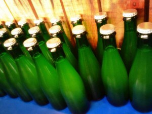 Bottled conditioned, unlabelled, to be left a while
